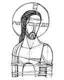 Jesus Christ bij zijn Hartstochtsillustratie Stock Afbeeldingen