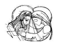 Jesus Christ bij zijn Hartstochtsillustratie vector illustratie