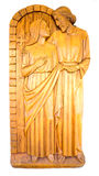 Jesus Christ And Blessed Mother Mary. An image of Jesus Christ and Blessed Mother Mary carved in hard wood in white background Royalty Free Stock Photography