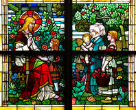 Jesus Christ blessing children (stained glass window) Stock Photo