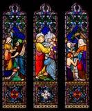 Jesus Christ Blessing e janela de vitral cura fotografia de stock