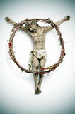 Jesus Christ and bloody crown of thorns Royalty Free Stock Image
