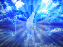 Jesus. Christ in blue sky and word Royalty Free Stock Photo