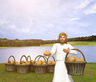 Jesus Christ Feeding of 5000 Illustration Stock Images