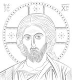 Jesus Christ. Byzantine style portrait stock illustration