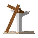 Jesus christ carries cross via crucis shadow Royalty Free Stock Photos