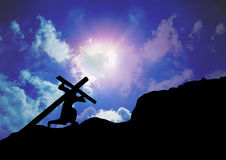 Jesus Christ carrying Cross. The way of the cross stock photos