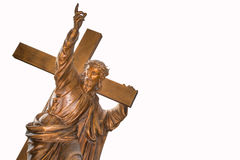 Jesus Christ carrying cross. Bronze sculpture of Jesus Christ carrying cross Royalty Free Stock Photo