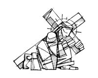 Jesus Christ carrying the Cross. Hand drawn vector illustration or drawing of Jesus Christ carrying the Cross royalty free illustration
