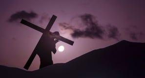Jesus Christ Carrying Cross op Calvary op Goede Vrijdag Stock Afbeelding