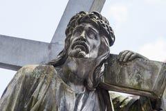 Jesus Christ Carrying das Querfragment der Statue Lizenzfreie Stockfotografie