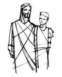 Jesus Christ che cammina con il giovane illustrazione di stock