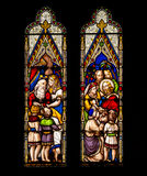 Jesus Christ and Children Stained Glass Window stock photos