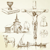 Jesus christ - christianity. Hand drawn collection Royalty Free Stock Image