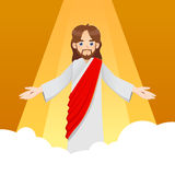 Jesus Christ on The Clouds. Ascension of Jesus Christ with arm wide open, vector illustration Stock Photo