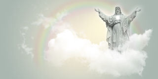 Jesus Christ in the clouds. Stock Image