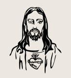 Jesus Christ con el corazón sagrado, diseño del vector Foto de archivo libre de regalías