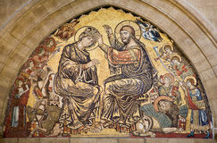 Jesus Christ and coronation of holy mary - Florenc. Jesus Christ and coronation of holy mary - mosaic from Florence cathedral Santa Maria del Fiore - interior Stock Images