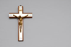 Jesus Christ on the cross. Cross with Jesus Christ hanging on the wall Royalty Free Stock Photography