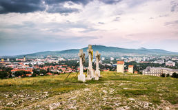 Jesus Christ Cross on Calvary. With City of Nitra and Zobor Mountain in Background Stock Photos