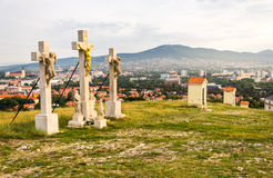 Jesus Christ Cross on Calvary. With City of Nitra and Zobor Mountain in Background Royalty Free Stock Photo