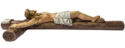 Jesus christ on the cross. Closeup of jesus crucified on the cross. Image shows the cross from the right side Royalty Free Stock Photo