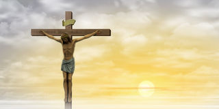 Jesus Christ. On the Cross with Clouds and Misty Sunrise, Sunset Stock Images