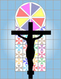 Jesus Christ Cross on The Colorful Cristal Wall in Temple. Background & Wallpaper Royalty Free Stock Images