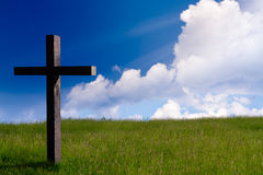 Jesus christ cross. Easter resurrection background, concept. Jesus Christ cross. Easter resurrection concept. christian cross on spring background with blue sky Stock Photography