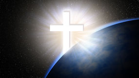 Jesus Christ cross. Easter, resurrection concept. Jesus cross rises behind Earth in space. Christian hope Royalty Free Stock Image