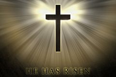Jesus Christ cross elevated, raised up, shrouded by light and glow and He has risen text written on a stone background. Christian, religious Easter card vector illustration