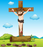 Jesus Christ at the cross. Illustration of Jesus Christ at the cross Royalty Free Stock Image