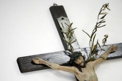 Jesus Christ on cross with olive branch on white background Stock Images