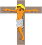 Jesus Christ on Cross Retro. Illustration of Jesus Christ hanging on cross crucified done in art deco retro style on isolated white background Royalty Free Stock Photography