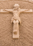 Jesus Christ on the Cross Sand Sculpture. Stock Image