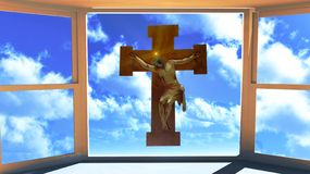 Jesus Christ on The Cross. Seen through the window Royalty Free Stock Images