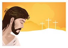 Jesus Christ and cross. Jesus Christ with space for text  - Vector illustration Stock Photo