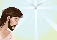 Jesus Christ and cross. Jesus Christ with space for text  - Vector illustration Royalty Free Stock Photo