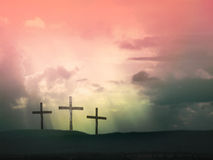 Jesus Christ on the cross. In the sunset landscape Royalty Free Stock Image