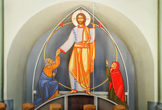 Jesus Christ with the Cross  in the temple of Olga and Elizabeth in Lviv Stock Photography