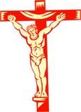 Jesus Christ On Cross Woodcut Stock Photo