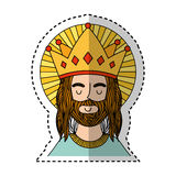 Jesus christ with crown character religious icon. Vector illustration design Royalty Free Stock Images