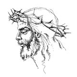 Jesus Christ with crown of thorns. A portrait of Jesus Christ sketch Stock Photos