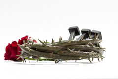 Jesus Christ crown of thorns, nails and two roses. Jesus Christ crown of thorns, nails and two roses on a white background Stock Photo