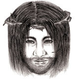 Jesus Christ with crown of thorns sketch art Stock Photo