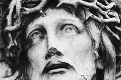 Jesus Christ in a crown of thorns (styled retro) royalty free stock photography