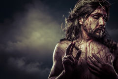 Jesus Christ with crown of thorns white on the cross, Easter in Stock Photos