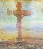 Jesus Christ crucificó, fondo del grunge Imagenes de archivo