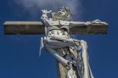 Jesus Christ crucificou, figura particular no metal Fotos de Stock Royalty Free