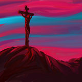 Jesus Christ Crucifiction vector illustration. Hand drawn  painted Royalty Free Stock Photos